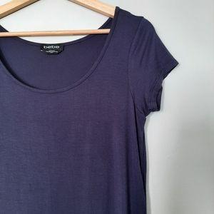 BEBE Hi-Low T-shirt Top Short Sleeve Unique Navy Top